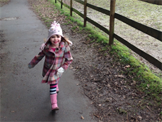 Three-year-old Tess Hammersley in training for her sponsored walk