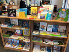 A shelf of books for children, all donated by Kingsfishers charity