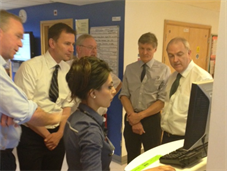 Secretary of State for Health, Jeremy Hunt and Medical Director for the NHS, Prof Sir Bruce Keogh with King's staff