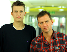 Patient Matt Maden with BBC Radio 1's Scott Mills - for Inside Out