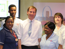Jeremy Hunt and staff from Marjory Warren Ward