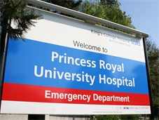Princess Royal University Hospital sign