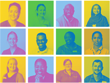 Grid featuring photos of various members of staff