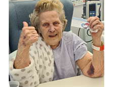 Ann Russell after being the first PRUH patient to receive the COVID-19 vaccine