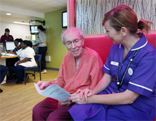 Lisa Matron DeJonge with a patient on the new Marjory Warren Ward
