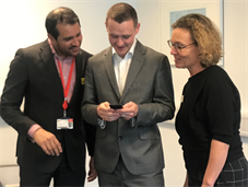 Ben Smith (centre) using the new device, alongside Dr Pratik Choudhary and diabetes nurse Claire Pengilley