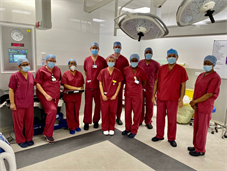 Surgical staff in new operating theatre in Queen Mary's Hospital